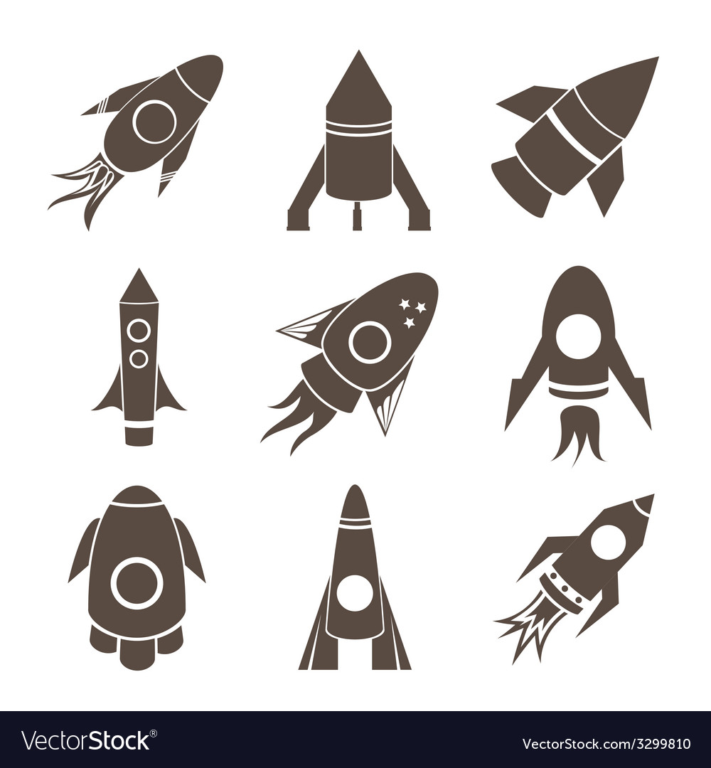 Rockets icons set on white background vector | Price: 1 Credit (USD $1)