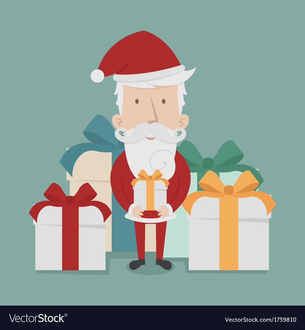 Santa claus standing gift boxes vector | Price: 1 Credit (USD $1)