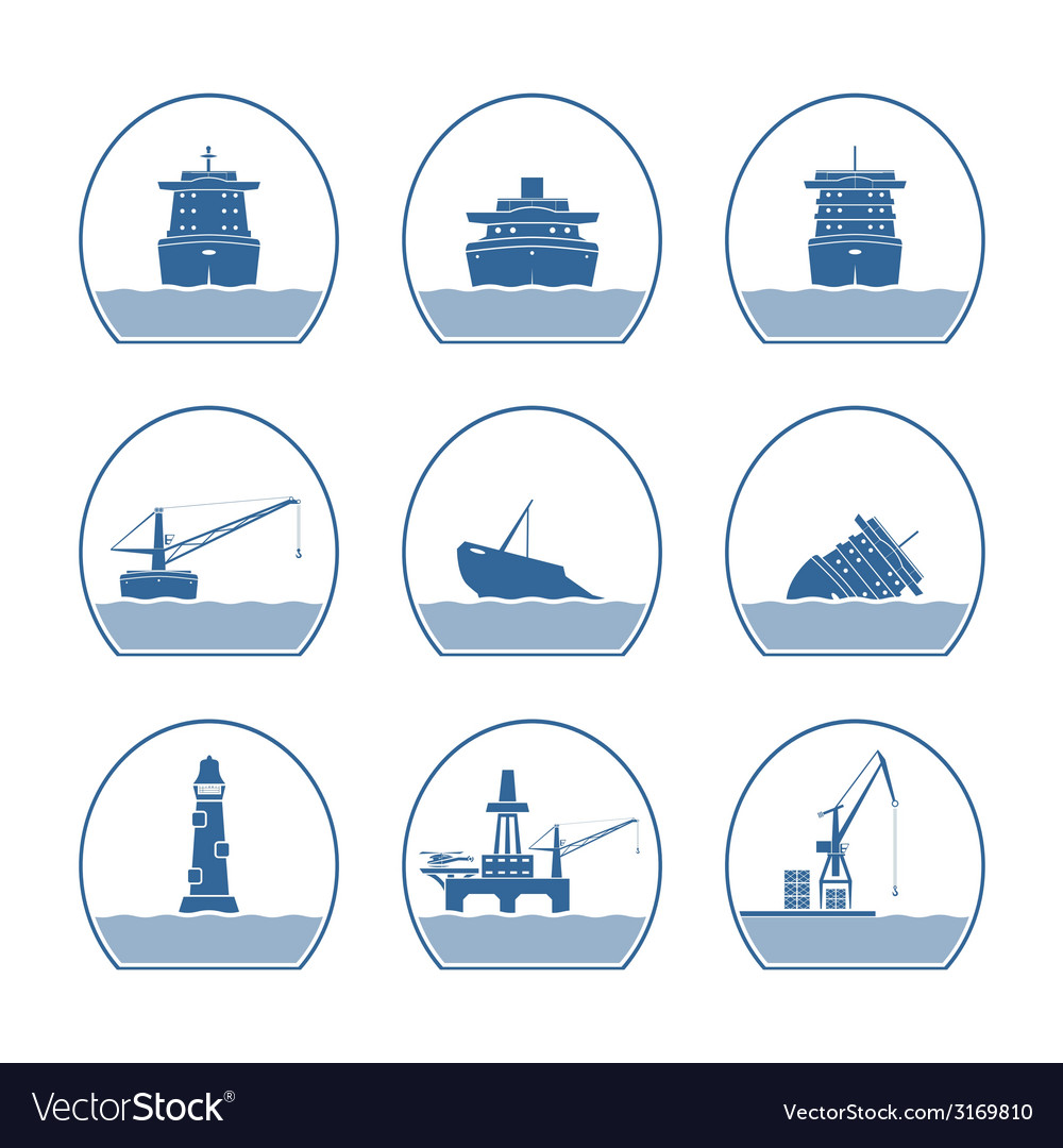Silhouettes of ships and marine structures vector | Price: 1 Credit (USD $1)