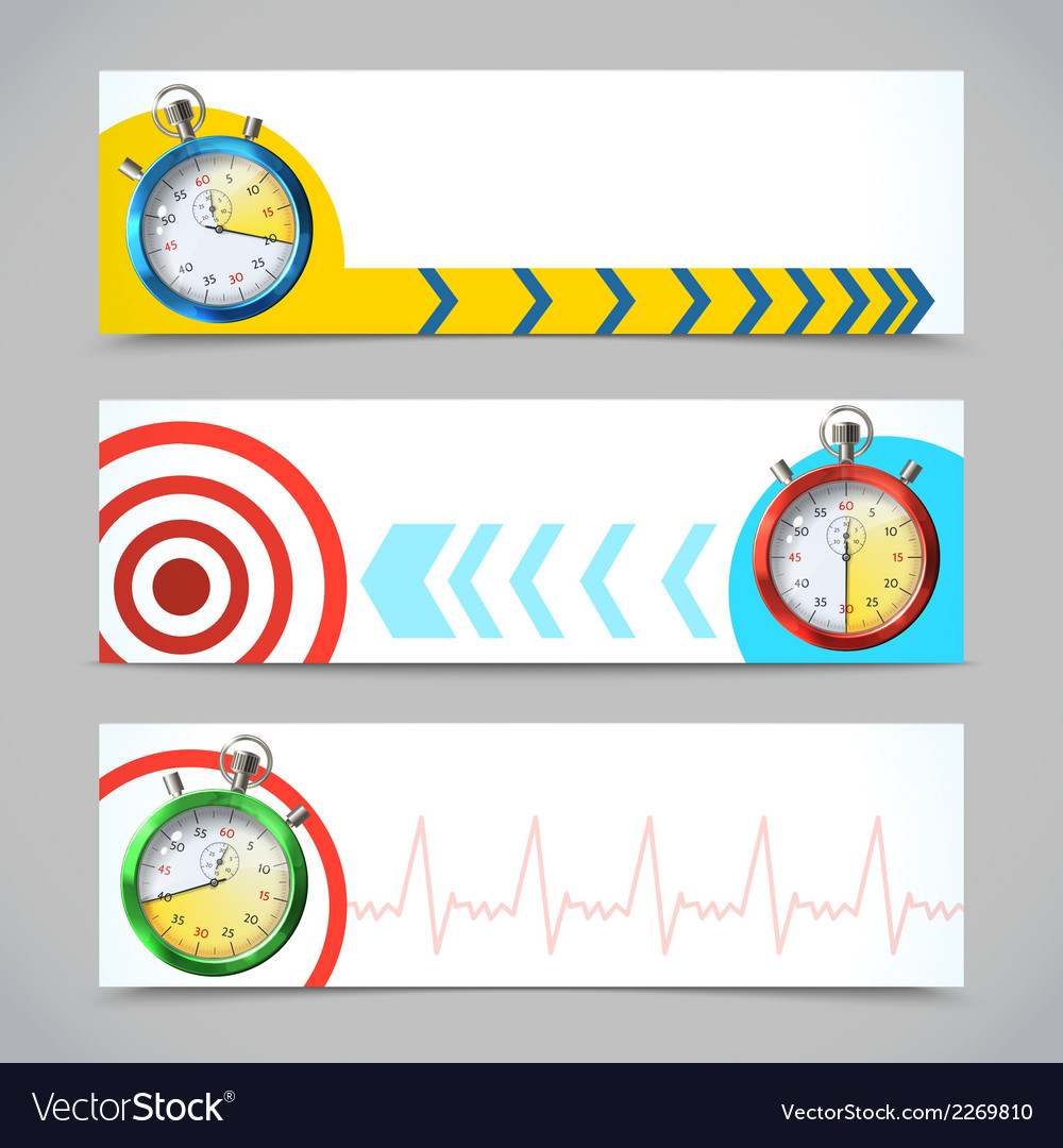 Stopwatch banners horizontal vector | Price: 1 Credit (USD $1)