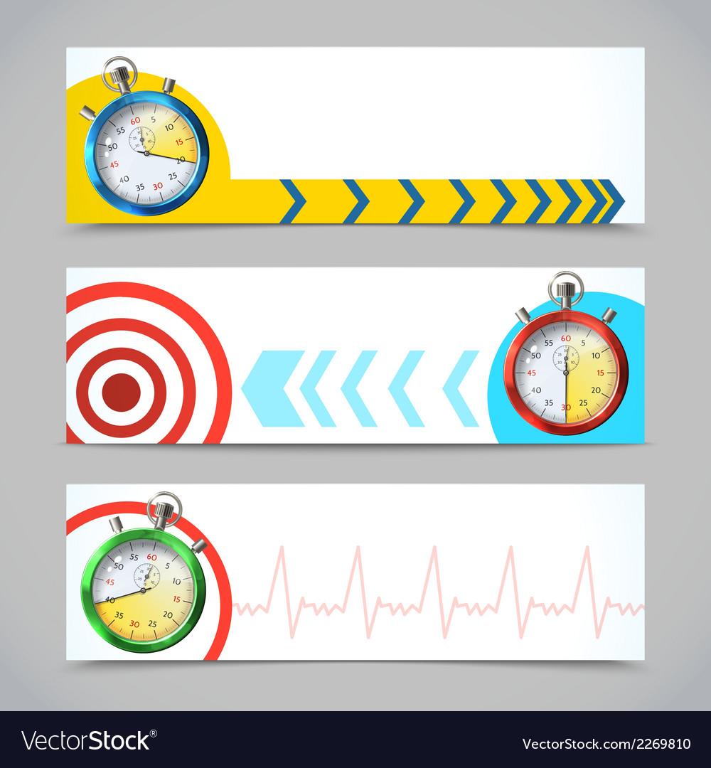Stopwatch banners horizontal vector | Price: 1 Credit (USD $1)