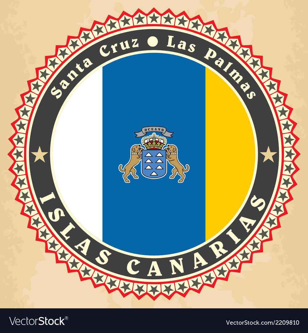 Vintage label cards of canary islands flag vector | Price: 1 Credit (USD $1)