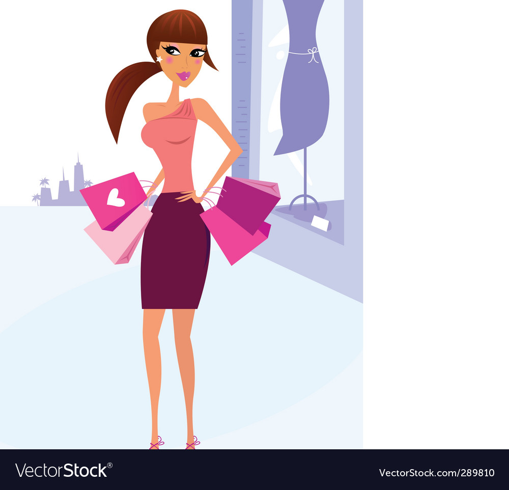 Woman shopping in the city vector | Price: 3 Credit (USD $3)