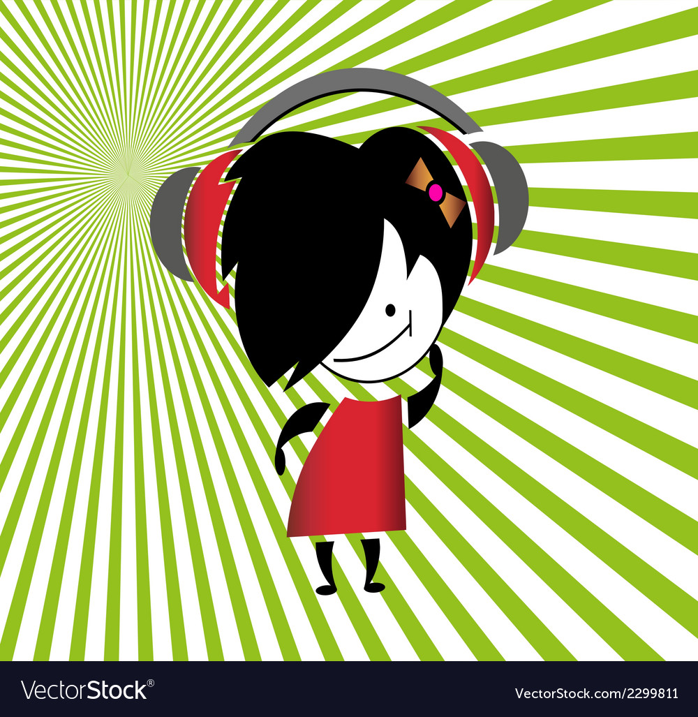 Girls listening music vector | Price: 1 Credit (USD $1)
