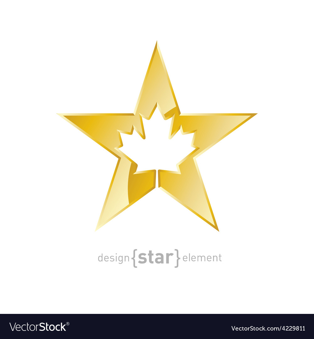 Golden star with canadian maple leaf on white vector | Price: 1 Credit (USD $1)
