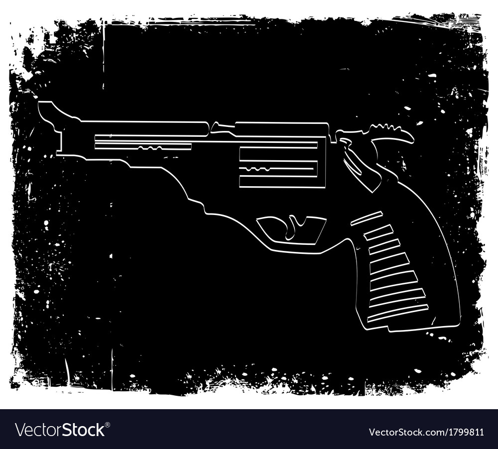 Gun on black grunge background vector | Price: 1 Credit (USD $1)