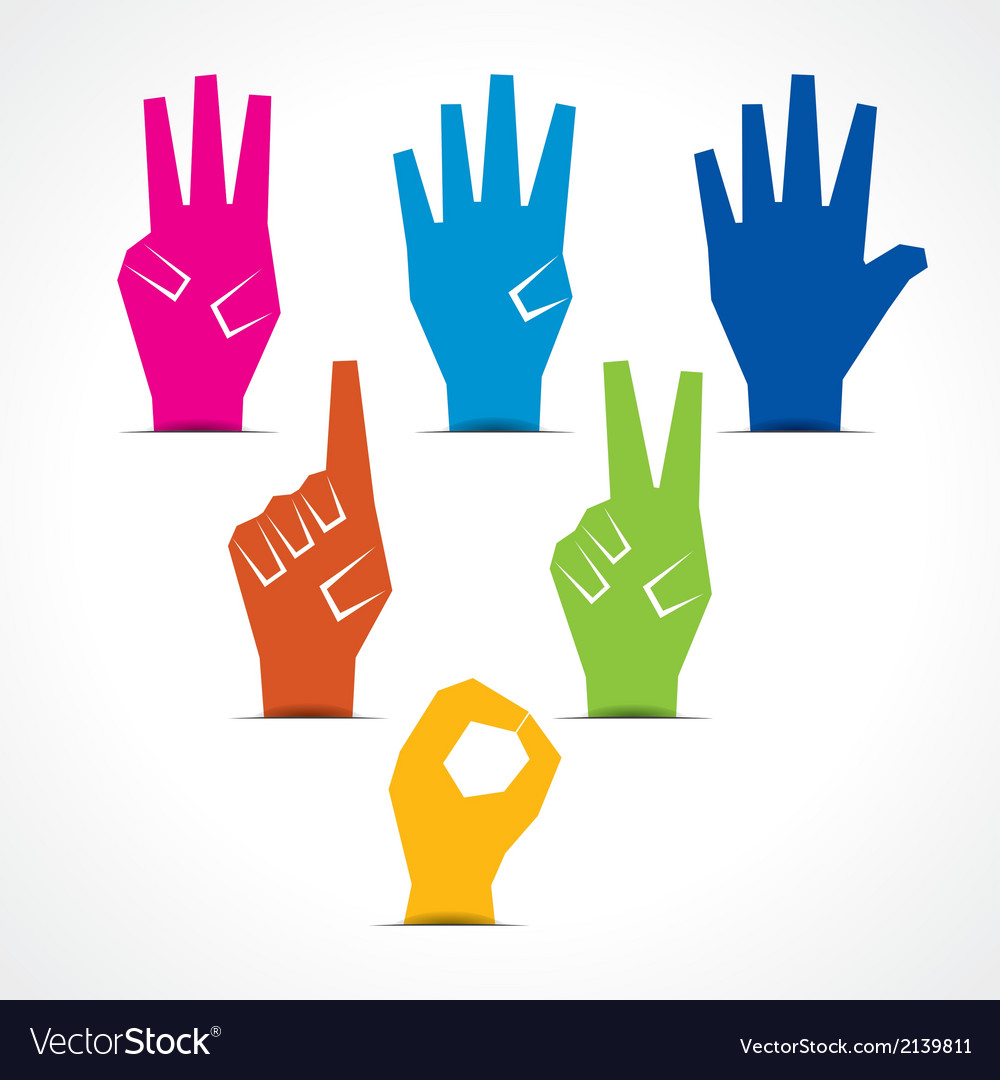 Hands make number one to five vector | Price: 1 Credit (USD $1)
