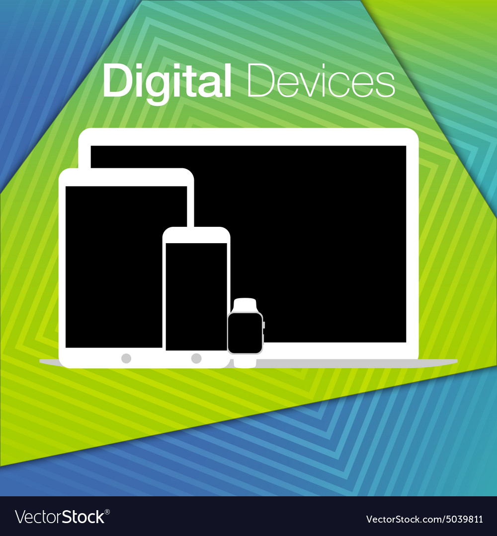 Modern digital devices sets geometric background vector