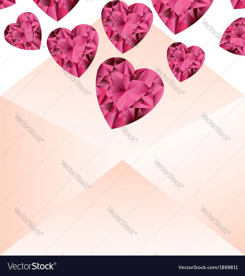 Opened envelope with pink gemstone hearts vector | Price: 1 Credit (USD $1)