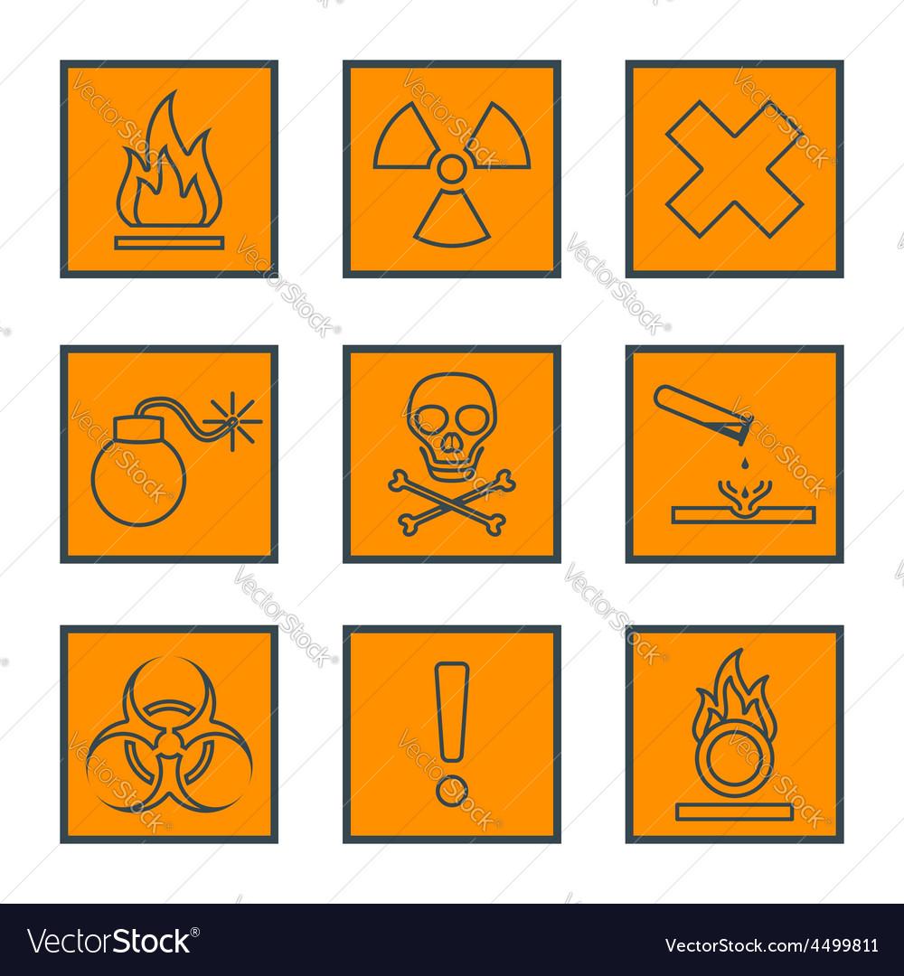 Orange square black outline hazardous waste vector | Price: 1 Credit (USD $1)