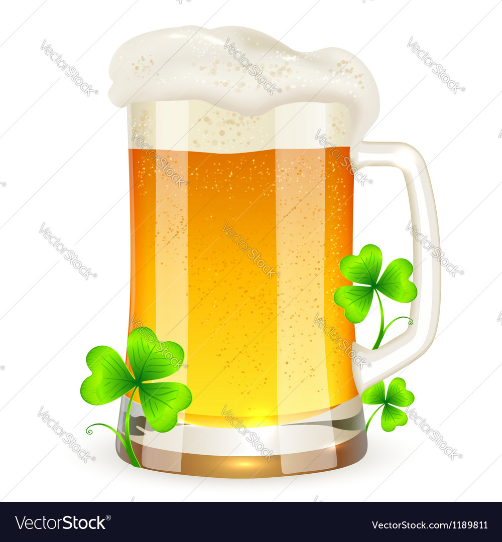 Pint of light beer with clovers vector | Price: 3 Credit (USD $3)