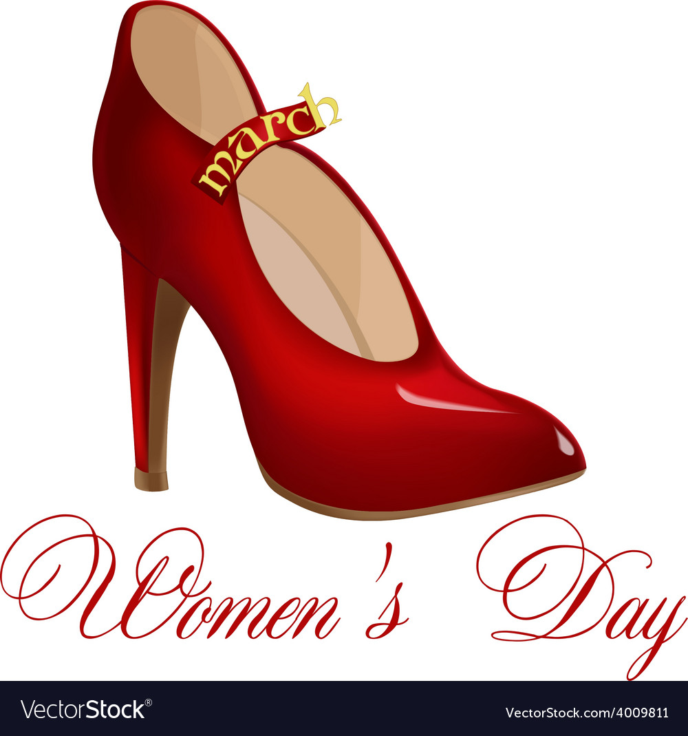 Red shoes for the holiday march 8 vector | Price: 1 Credit (USD $1)