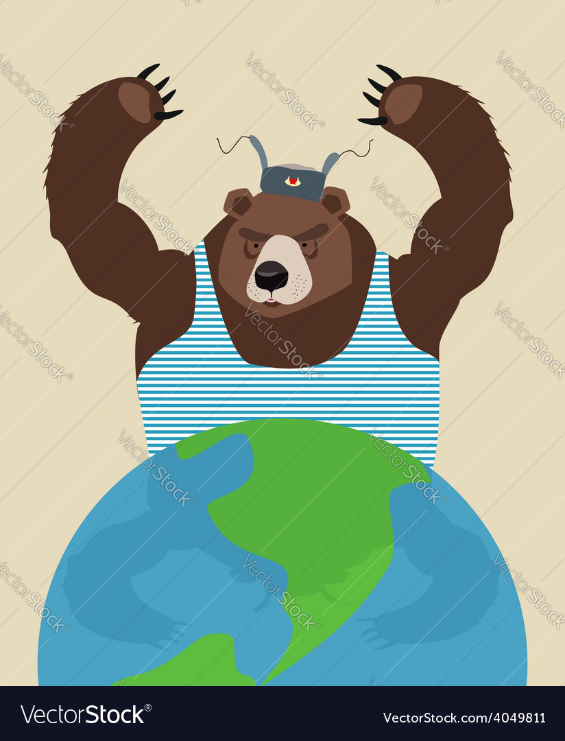 Russian bear threatens peace the globe traditional vector | Price: 1 Credit (USD $1)