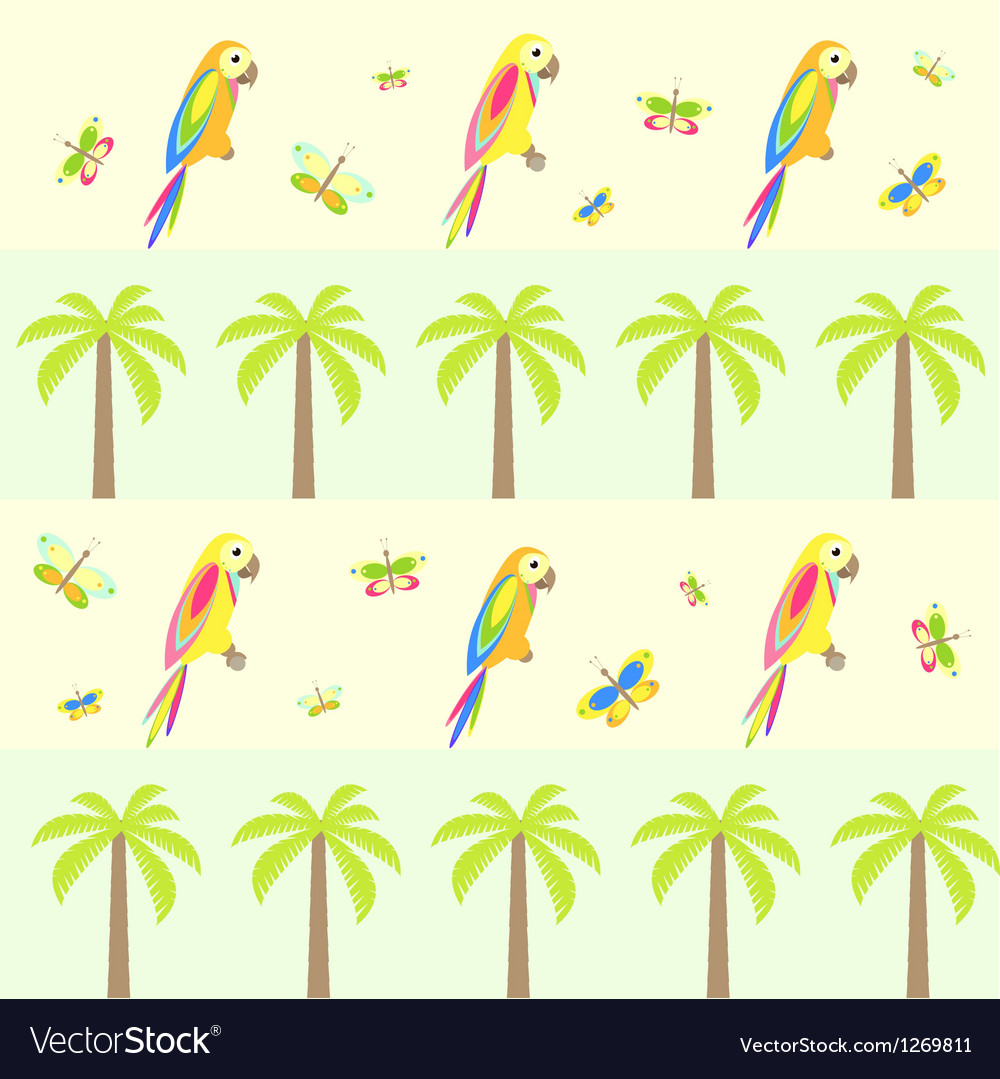 Seamless background with palm tree and parrots vector | Price: 1 Credit (USD $1)