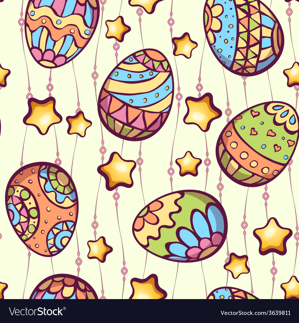Seamless pattern of cartoon color eggs vector | Price: 1 Credit (USD $1)