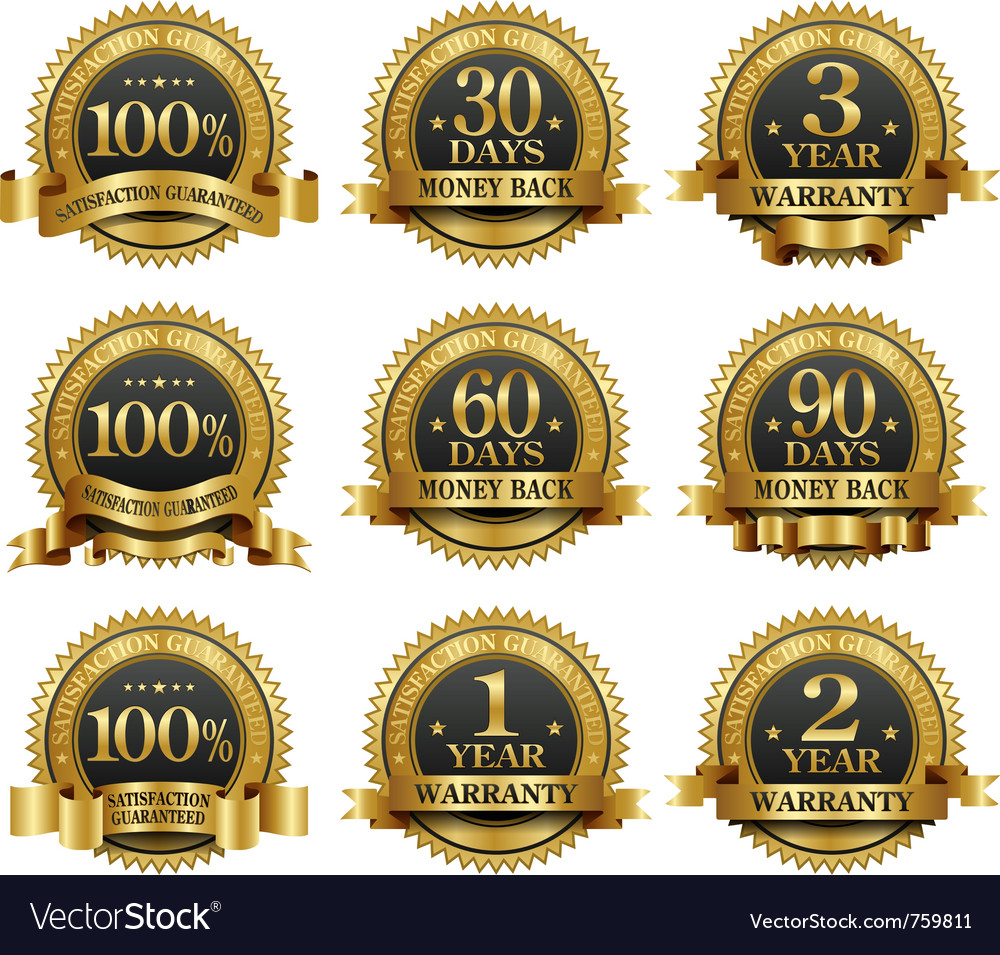 Set of 100 guarantee golden labels vector | Price: 3 Credit (USD $3)