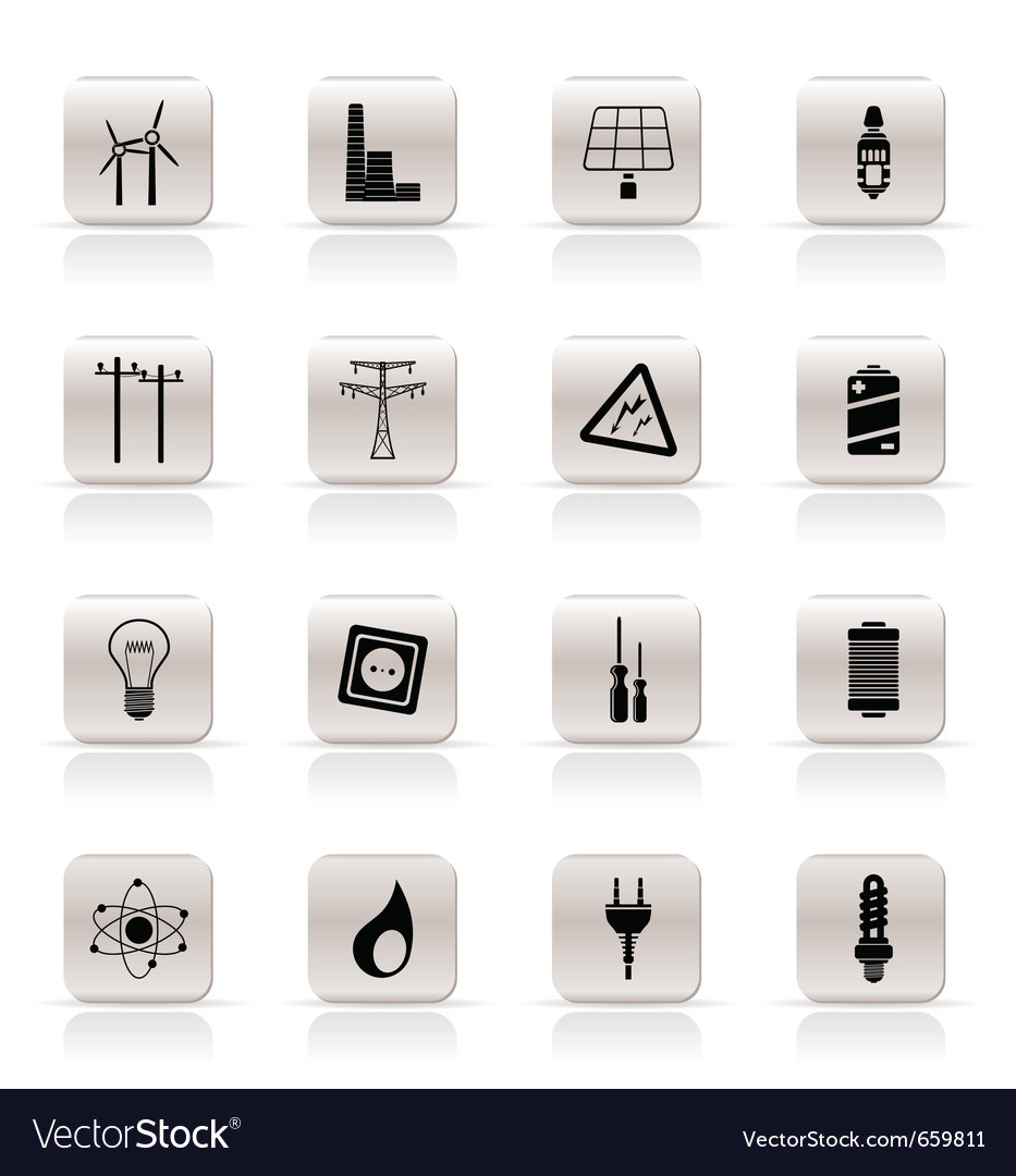 Simple electricity and energy icons vector | Price: 1 Credit (USD $1)