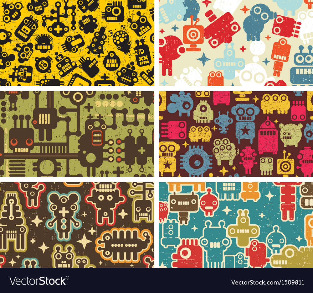Six business card covers with robots vector | Price: 1 Credit (USD $1)