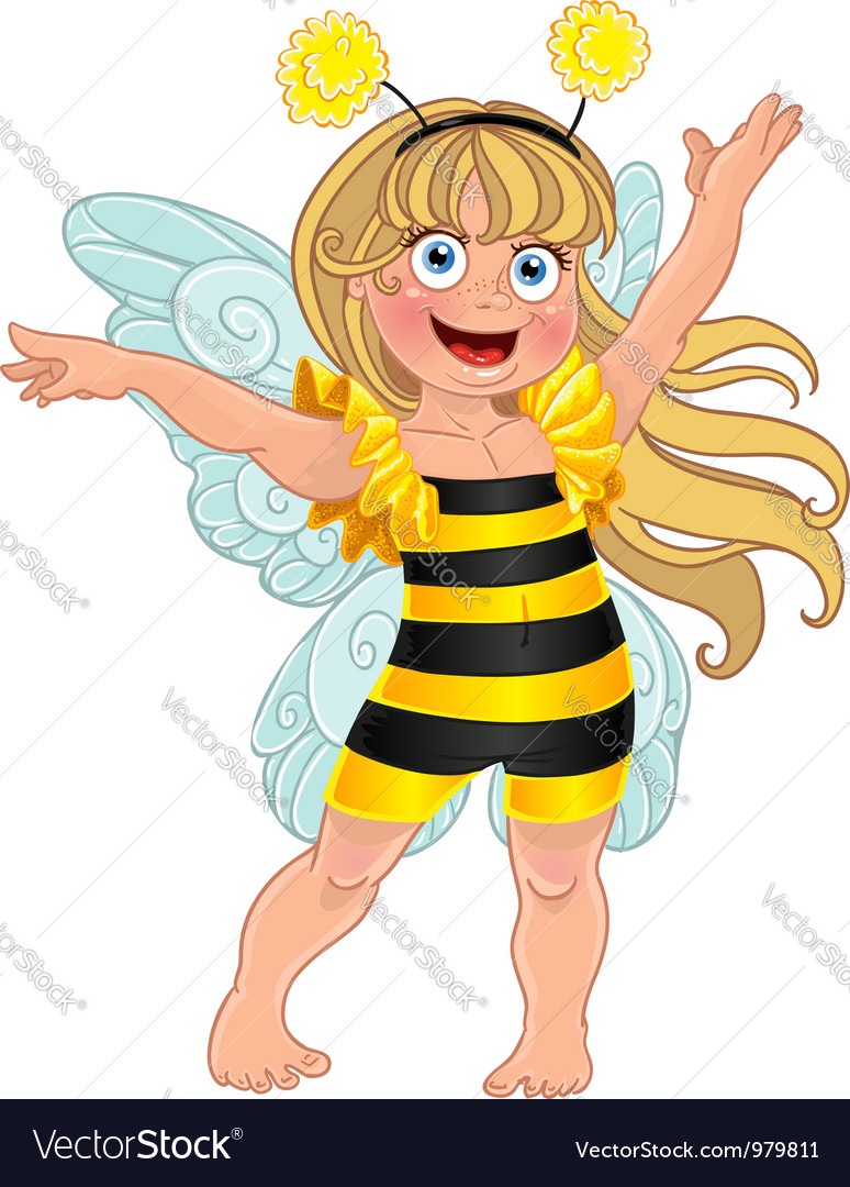 Small girl in carnival suit bee vector | Price: 3 Credit (USD $3)
