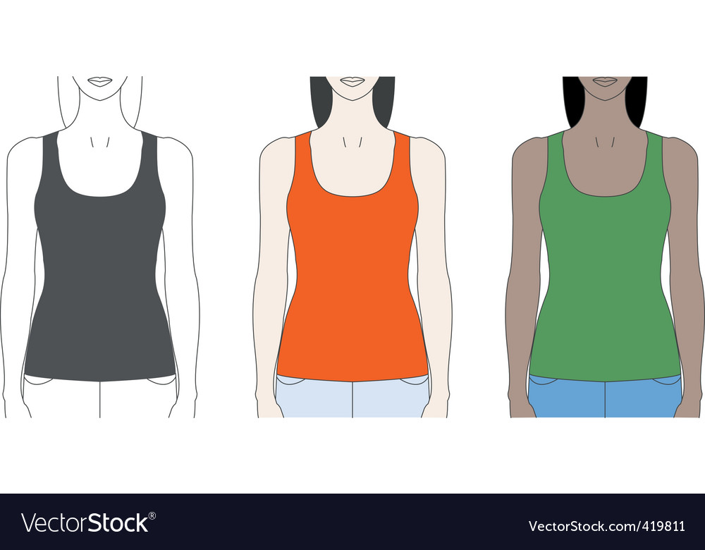 Strap tank top template vector | Price: 1 Credit (USD $1)