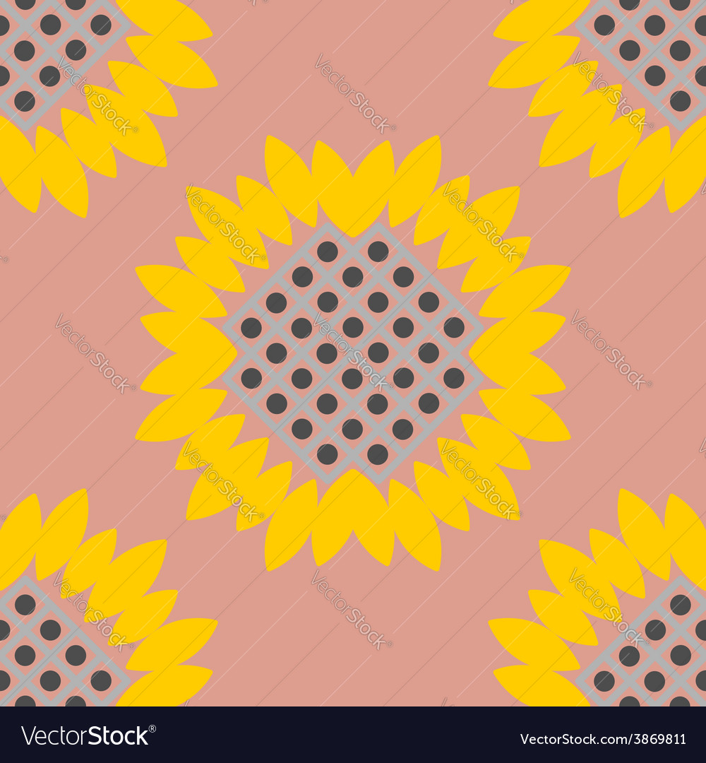 Vintage background sunflowers seamless pattern vector | Price: 1 Credit (USD $1)
