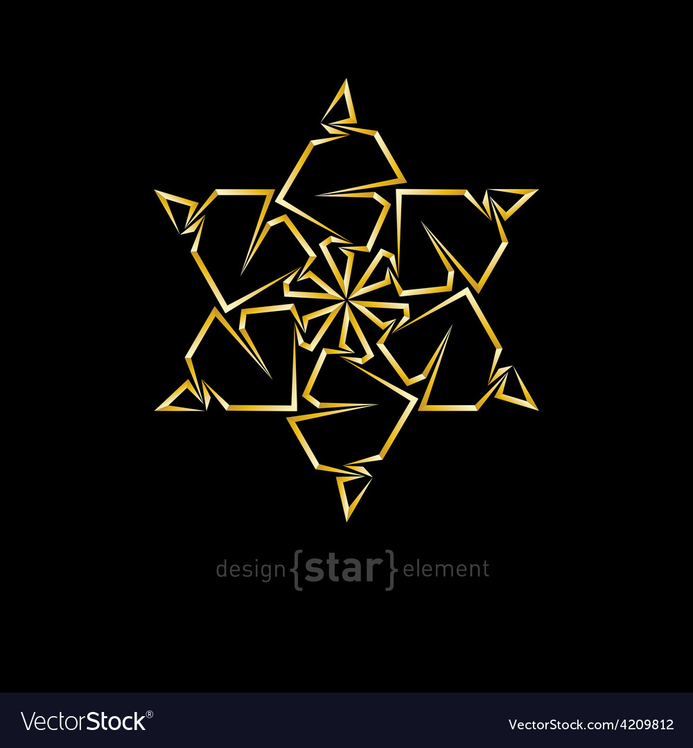 Abstract gold flower on black background vector | Price: 1 Credit (USD $1)