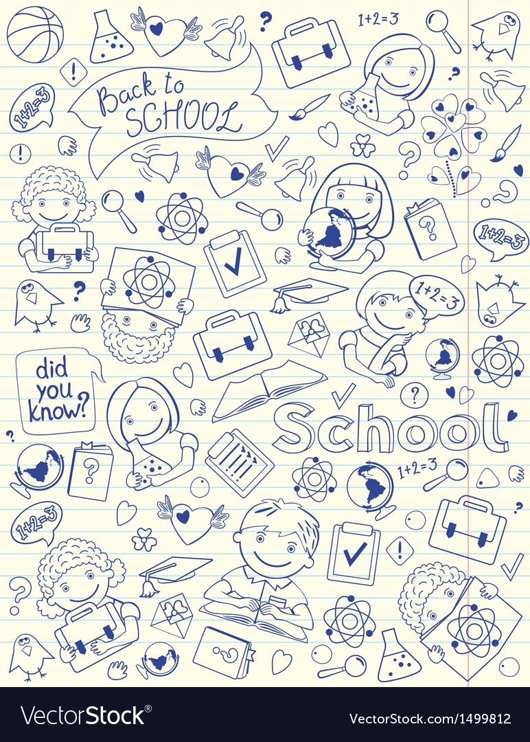 Background with school symbols on copy book page vector | Price: 3 Credit (USD $3)