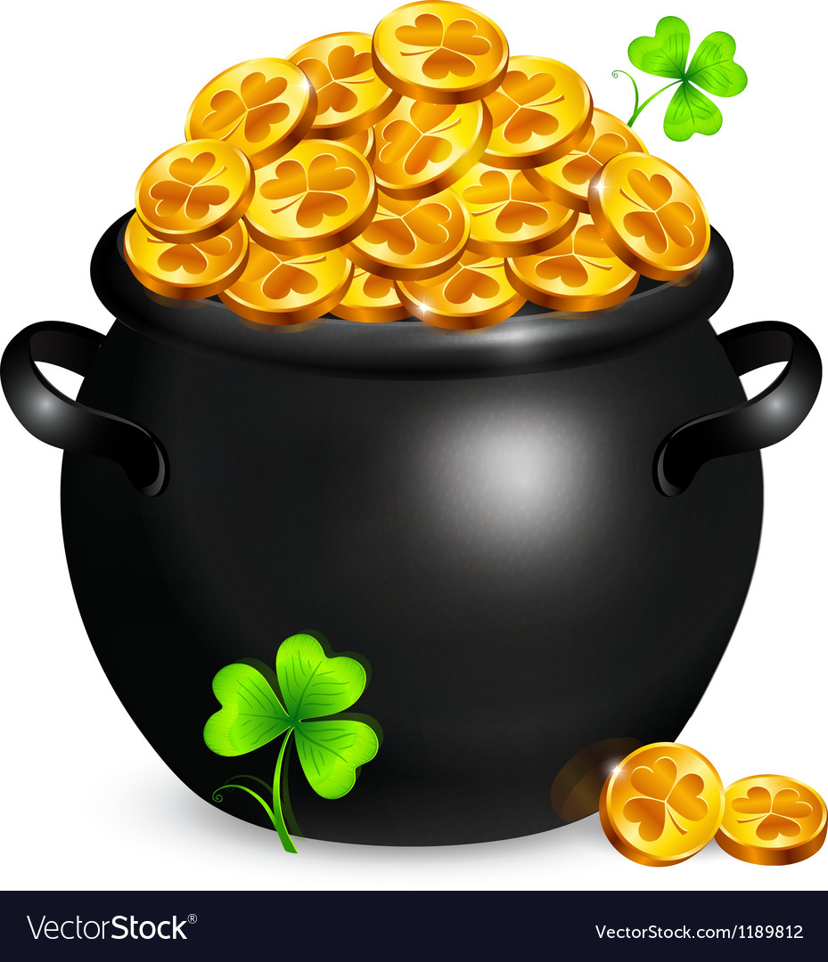 Black pot of leprechauns gold with clovers vector | Price: 3 Credit (USD $3)
