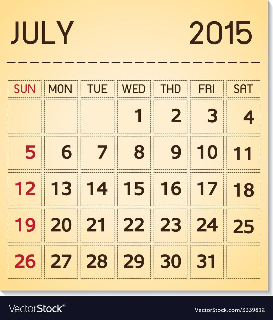 Calendar 20115 07 july vector | Price: 1 Credit (USD $1)