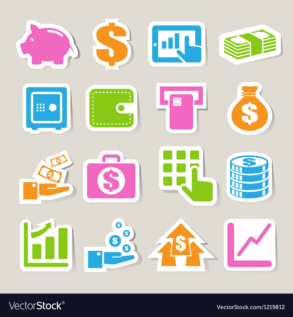 Finance money sticker icon set vector | Price: 1 Credit (USD $1)