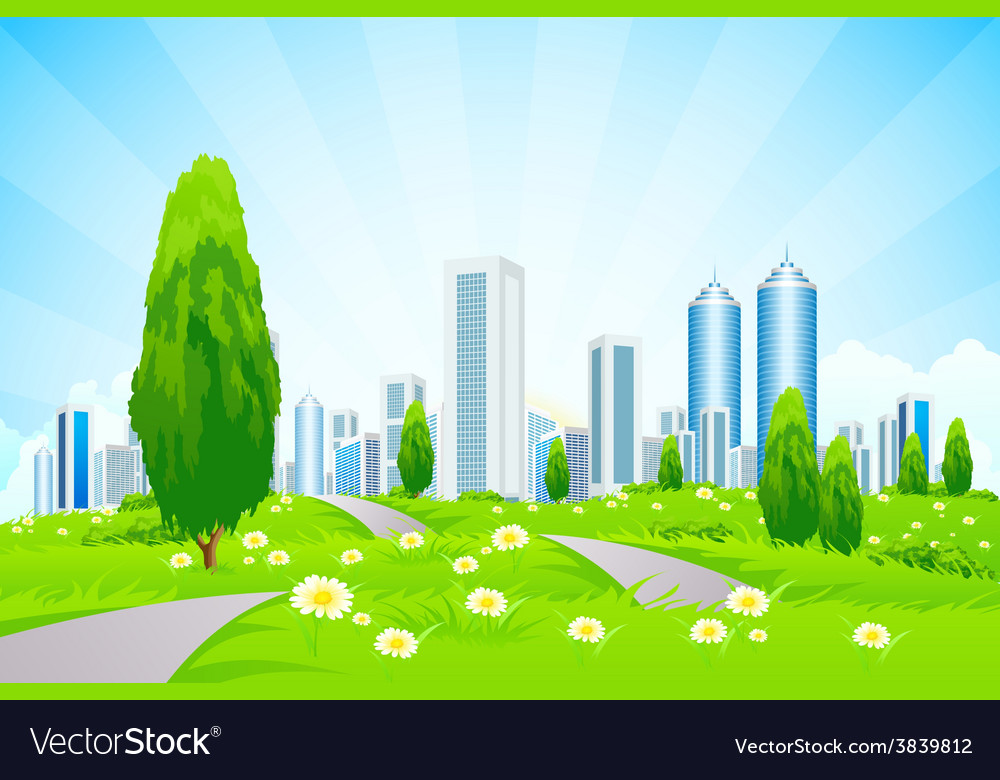 Green landscape with trees city roads vector | Price: 3 Credit (USD $3)