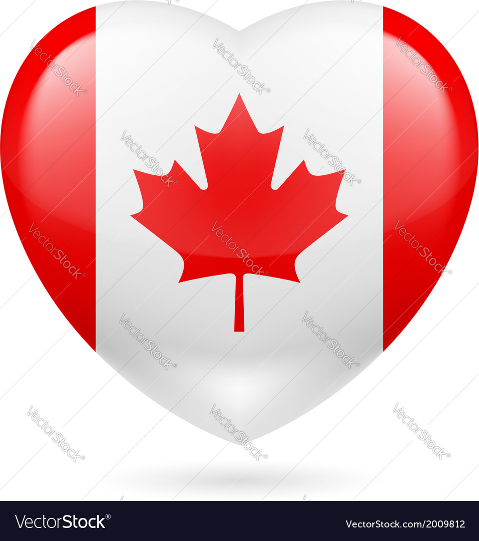 Heart icon of canada vector | Price: 1 Credit (USD $1)