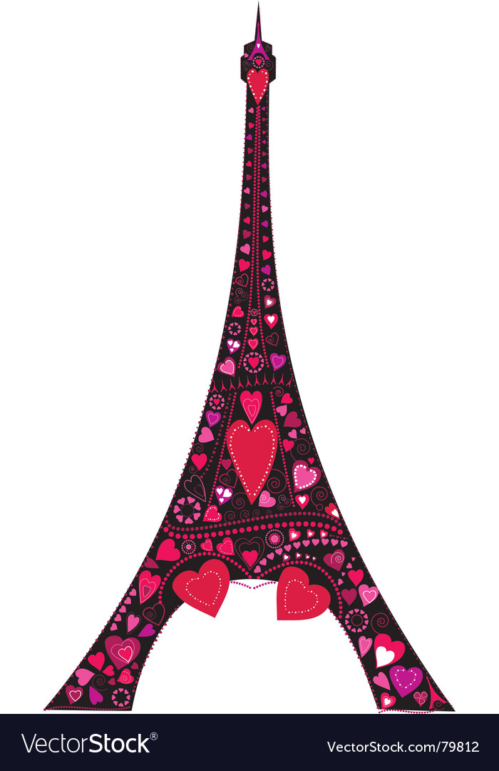 Love in eiffel tower silhouette vector | Price: 1 Credit (USD $1)