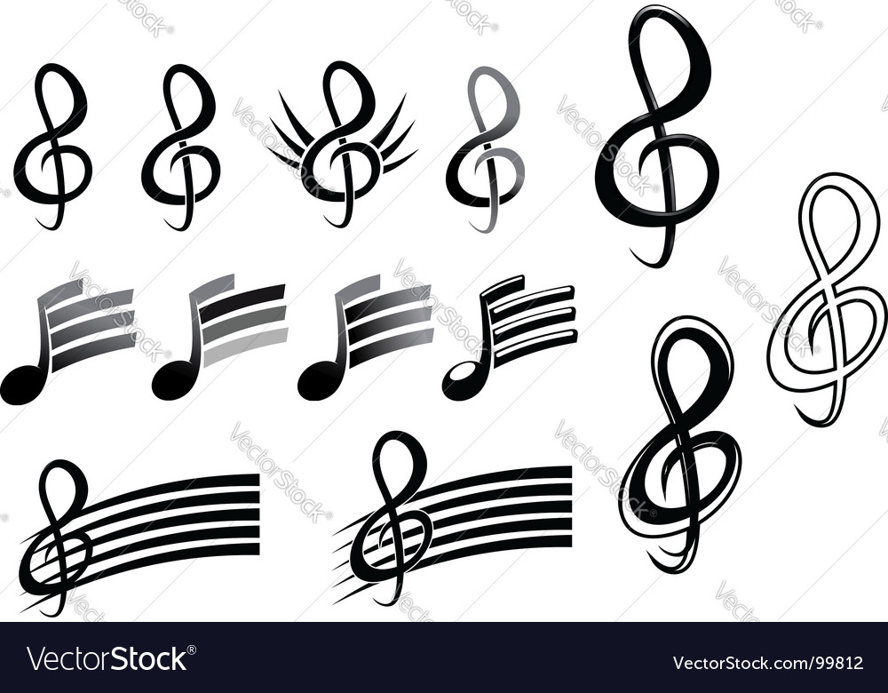 Music keys and notes vector | Price: 1 Credit (USD $1)