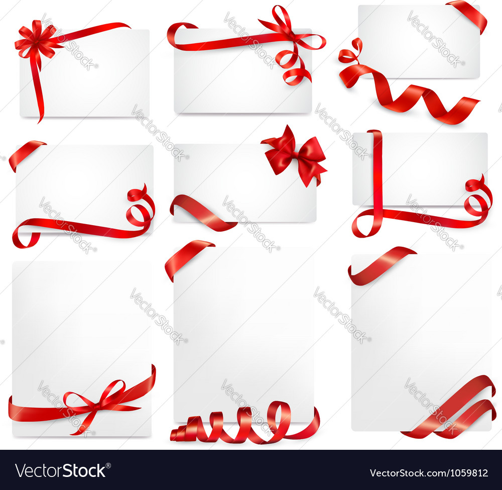 Set of beautiful cards with red gift bows vector   Price: 1 Credit (USD $1)