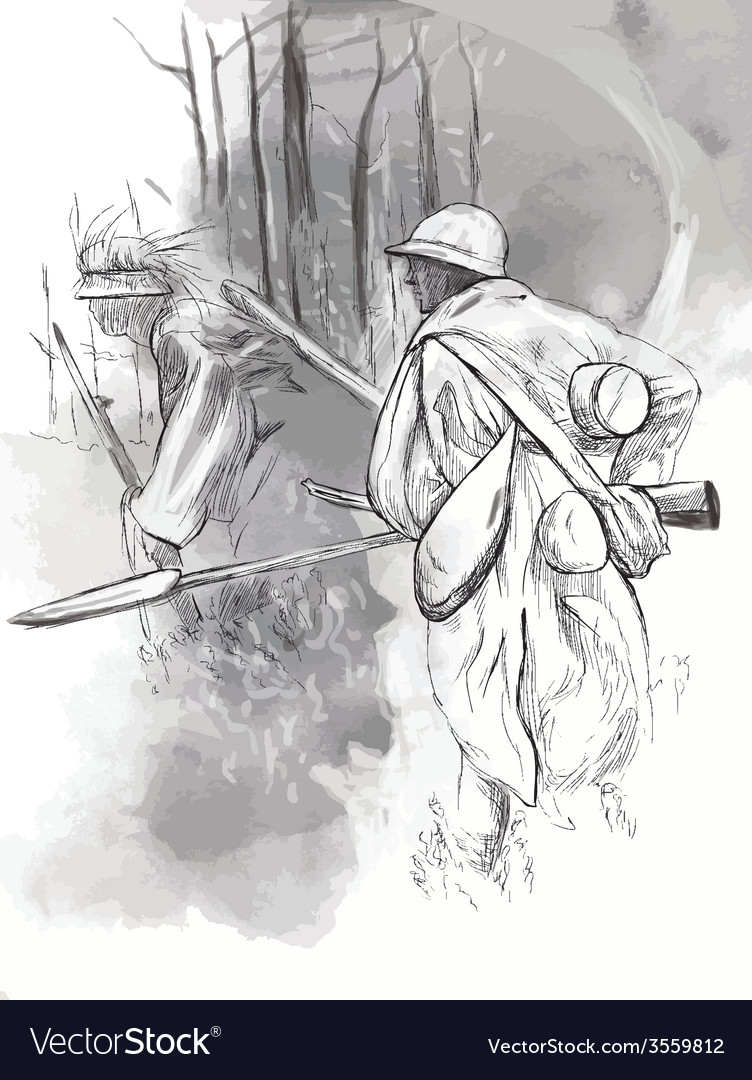 Soldier with a rifle in the woods - hand drawn vector | Price: 3 Credit (USD $3)