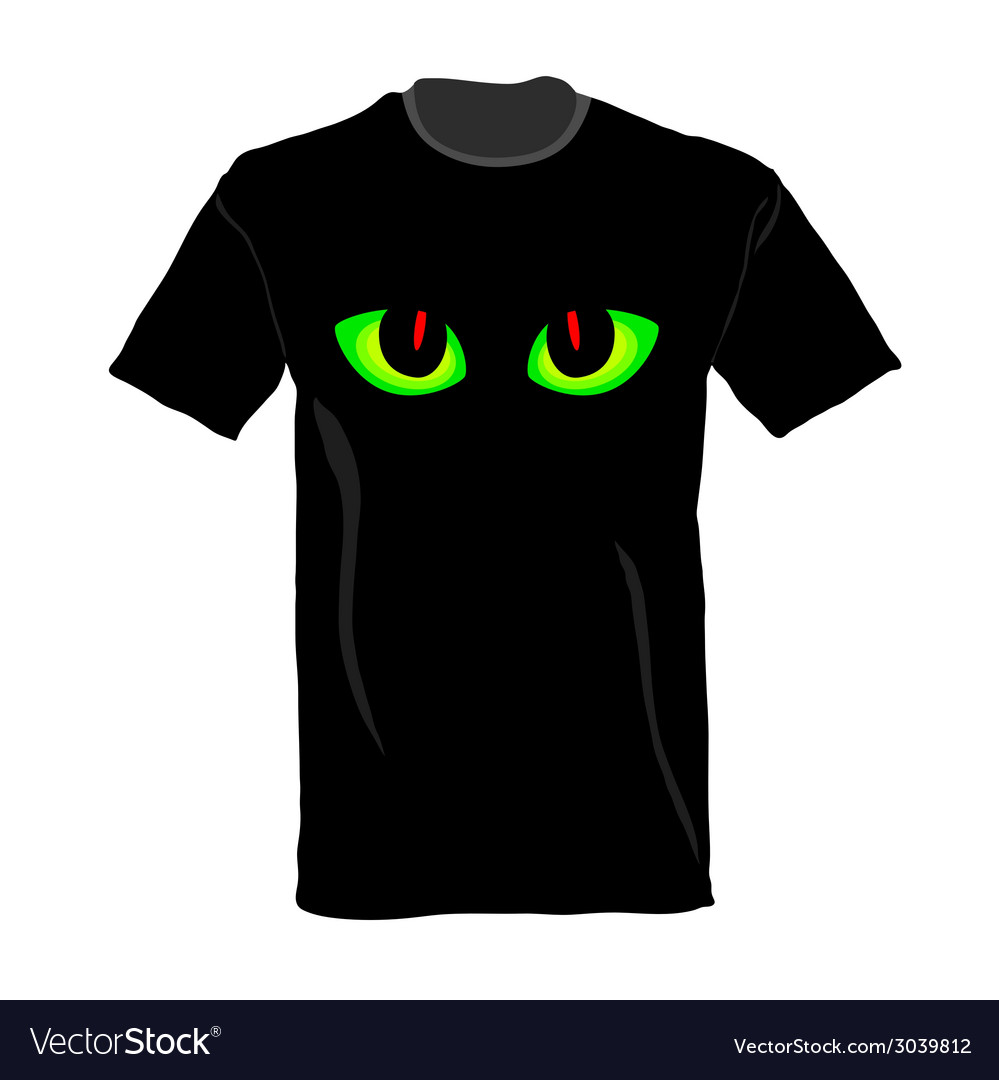 T-shirt with cat eye on it vector | Price: 1 Credit (USD $1)