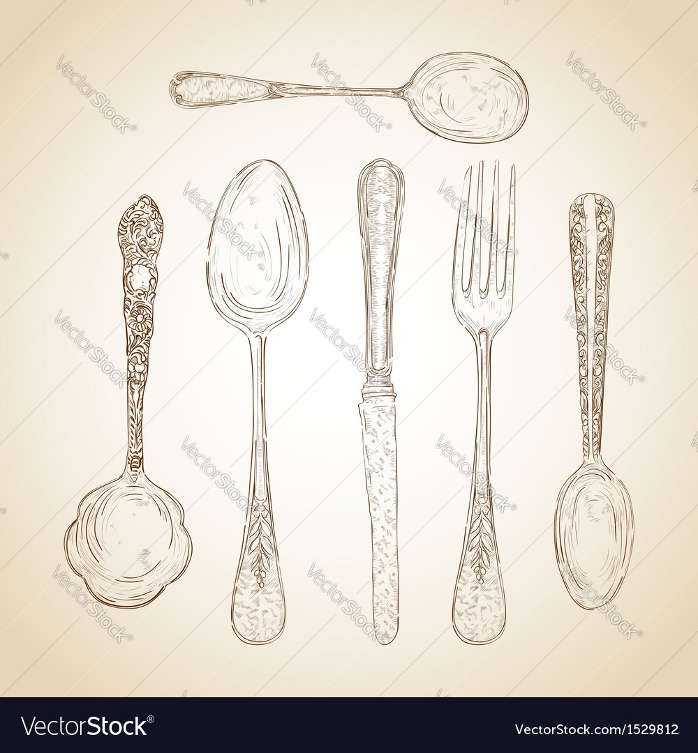 Vintage cutlery hand drawn set vector | Price: 1 Credit (USD $1)