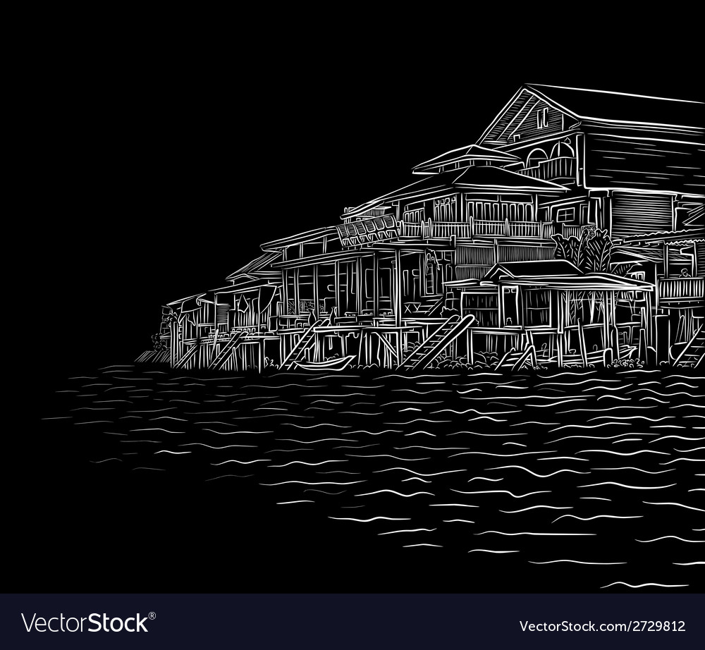 Waterside sketch vector | Price: 1 Credit (USD $1)