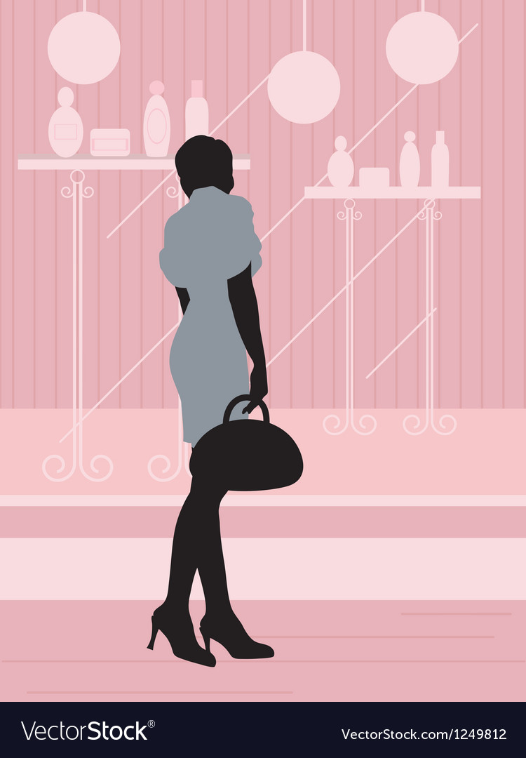 Woman near the showcase vector | Price: 1 Credit (USD $1)