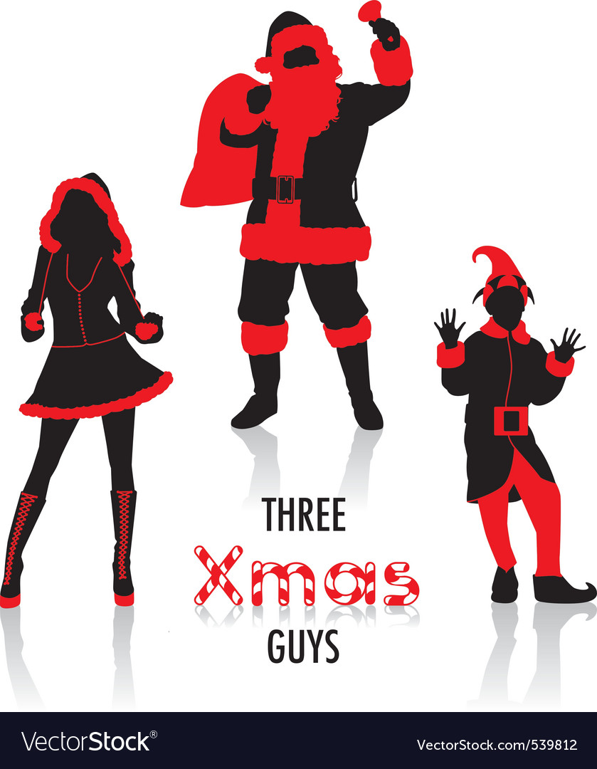 Xmas guys silhouettes vector | Price: 1 Credit (USD $1)