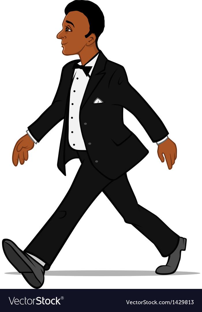Black man in a tuxedo walking vector   Price: 1 Credit (USD $1)
