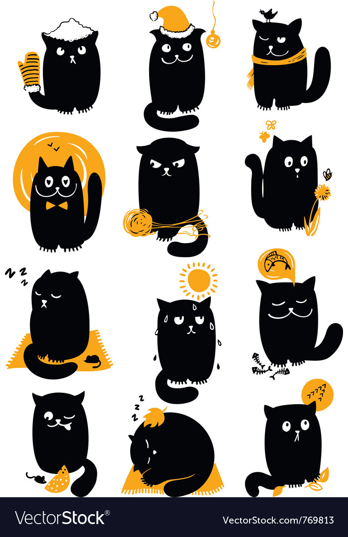 Cat in seasons vector | Price: 3 Credit (USD $3)