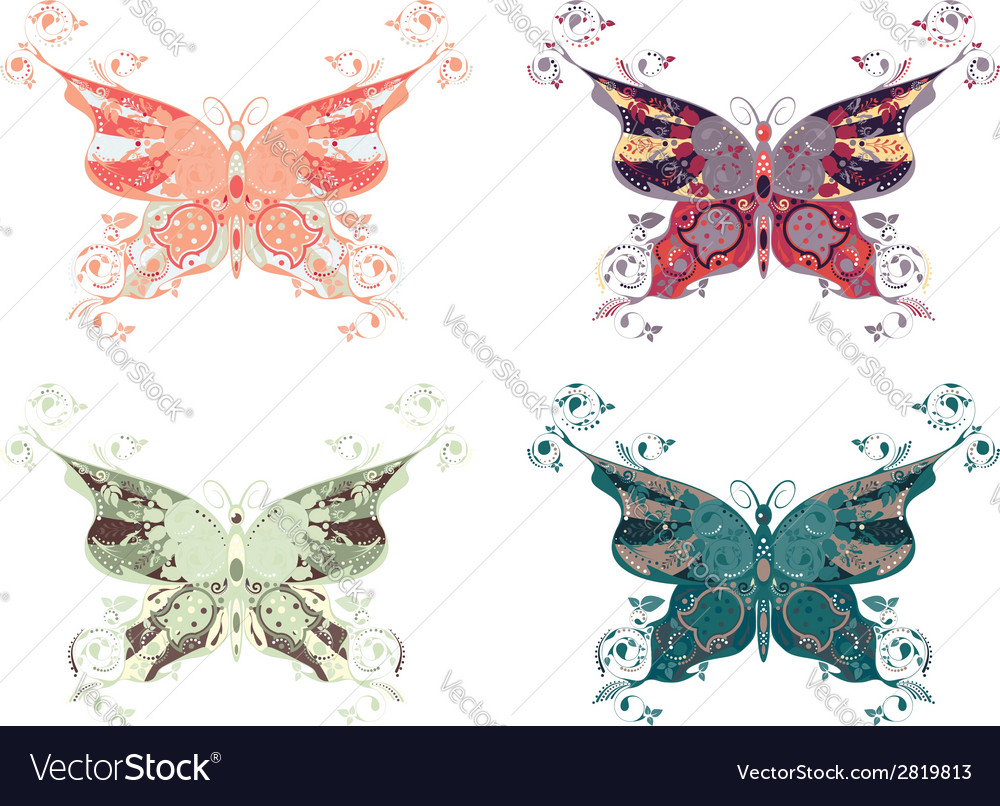Colorful butterflies set4 vector | Price: 1 Credit (USD $1)