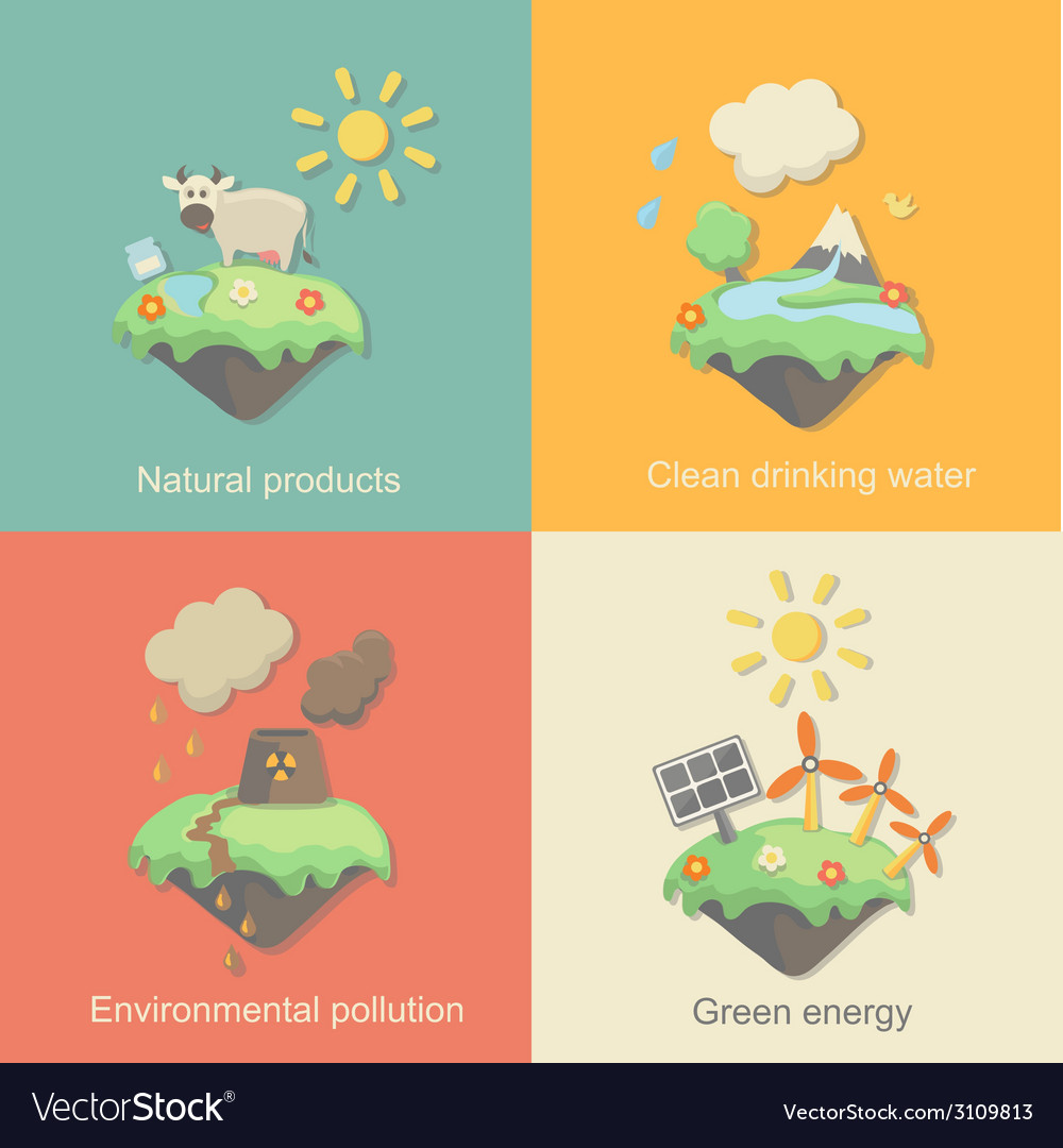 Ecology concept icons set for environment green vector | Price: 1 Credit (USD $1)