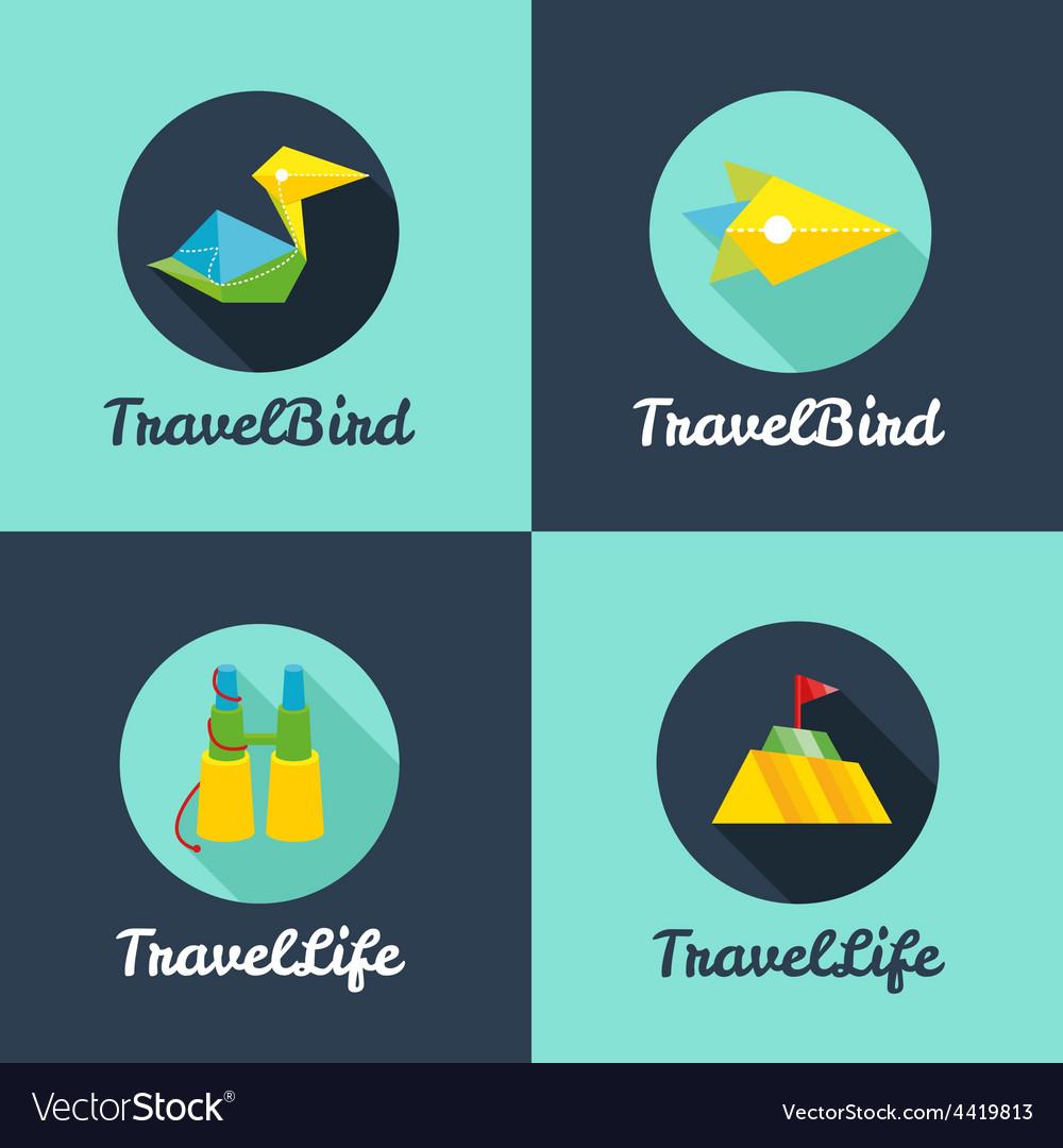 Flat travel agency logo templates set vector | Price: 1 Credit (USD $1)