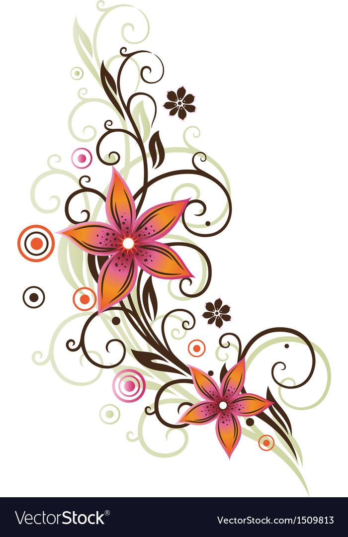 Flower summer retro orange pink vector | Price: 1 Credit (USD $1)