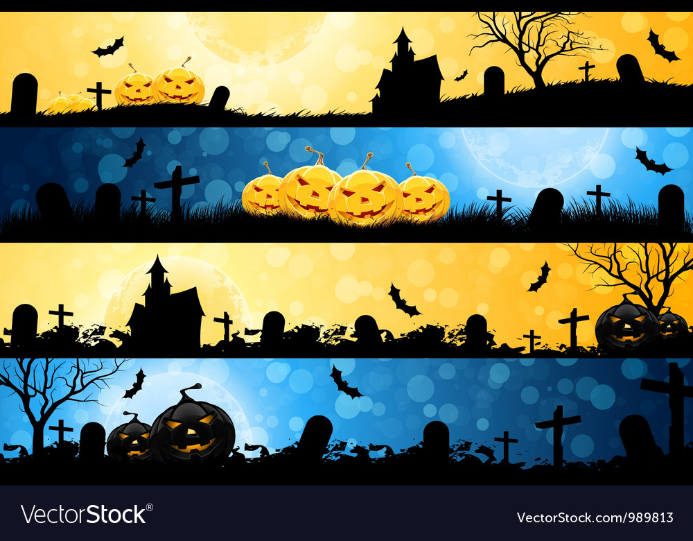 Four halloween banners vector | Price: 3 Credit (USD $3)