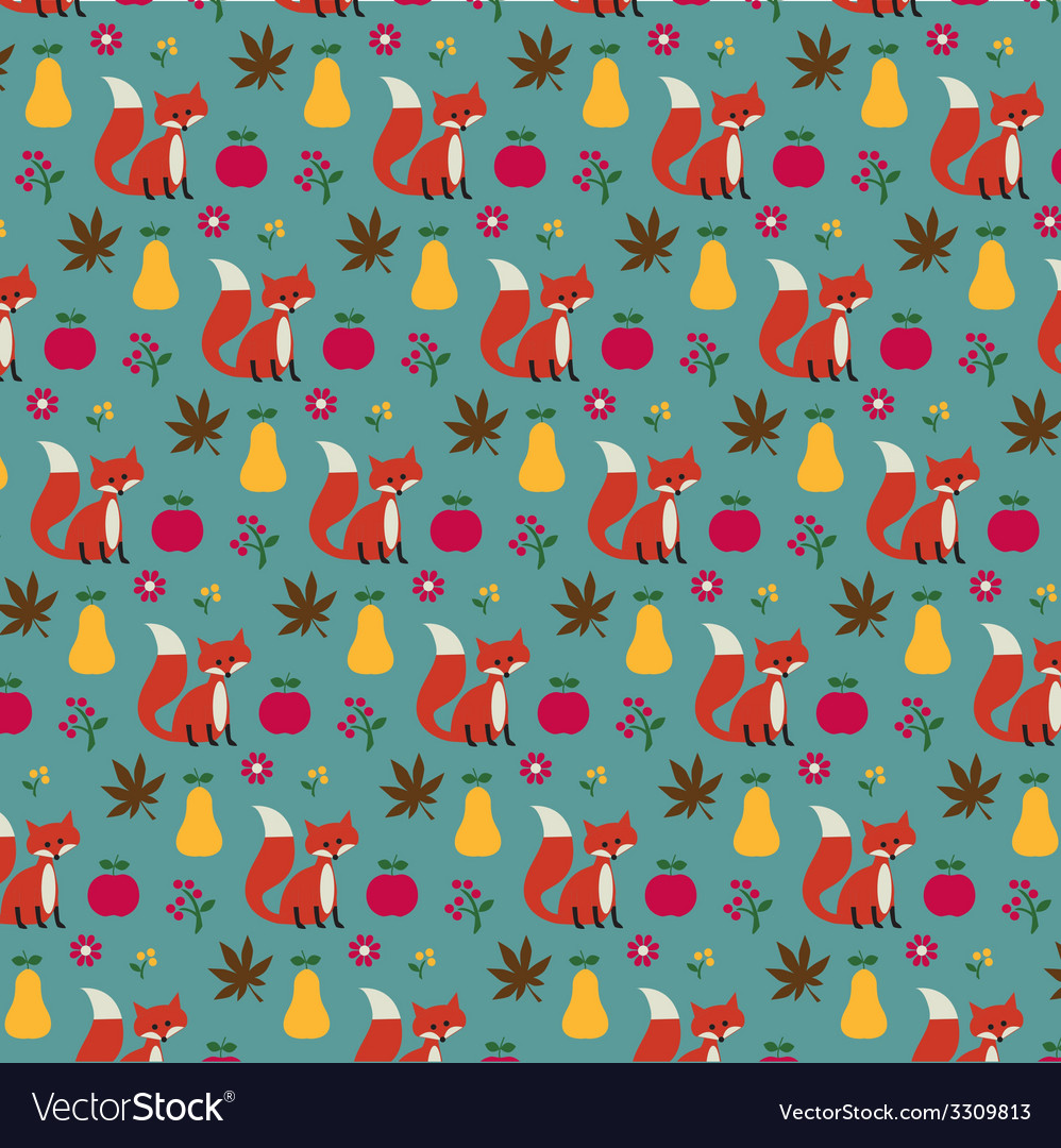 Fox apples and pears pattern vector