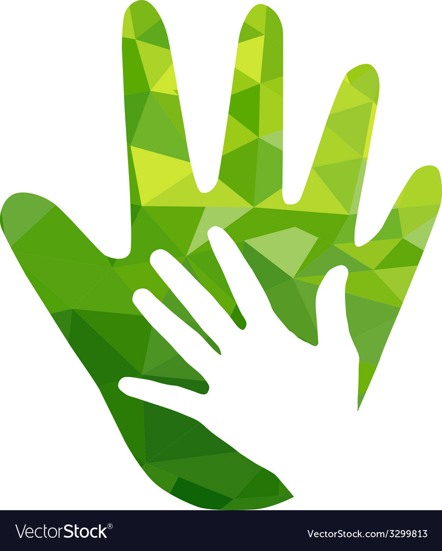 Green hand with green geometric over white vector | Price: 1 Credit (USD $1)